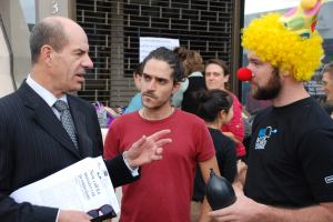 Meeting our local member at climate protest