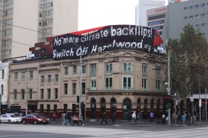 Protestors take a Switch of Hazelwood message to the busiest intersection in Melbourne for World Envrionment Day 5 June 2010