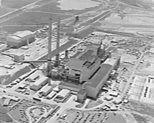 Vintage photo of Hazelwood power station from the sky