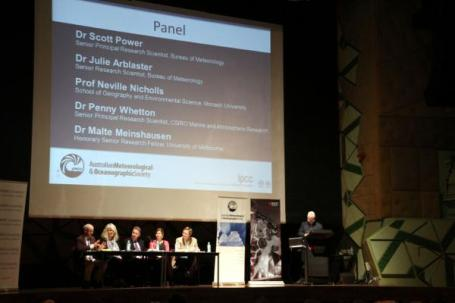 Science panel at AMOS answering questions on IPCC report