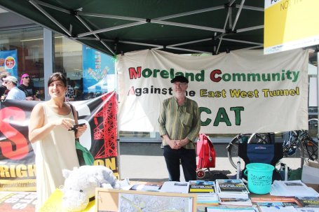 Greens Councillor Lenka Thompson at the MCAT stall