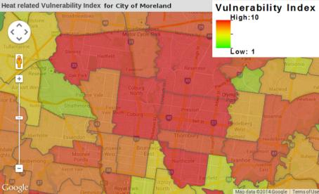 Moreland's social heat vulnerability