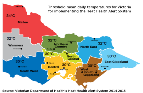 Heat Health Districts and Health Alert thresholds