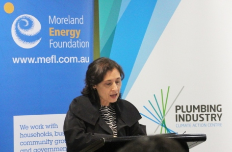 Energy Minister Lily D'Ambrosio talking up Labor's positive climate action on energy, while ignoring the elephant in the room, Victoria's brown coal - June 3, 2015. Photo: John Englart