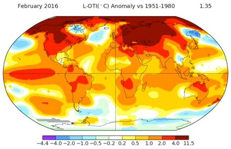 NASA Map of February 2016 temperature anomaly