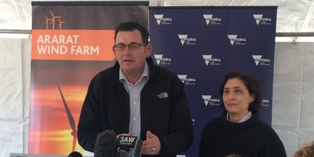 Premier Dan Andrews and Energy and Environment Minister Lily D'Ambrosio launching Victoria's renewable energy targets