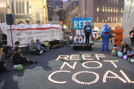 Reef not Coal protest at Federation Square