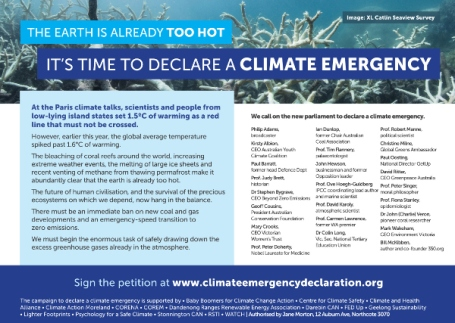 21 prominent Australians signed this ad in June 2016 calling for a climate emergency declaration
