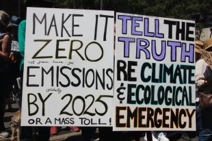 signs at Climate Crisis rally, 22 Feb, 2020