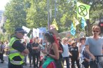 XR Fairy talking to Victoria Police at on the march Climate Crisis rally, 22 Feb, 2020