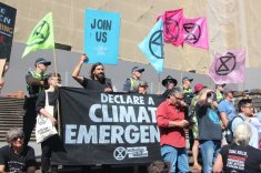 on the march Climate Crisis rally, 22 Feb, 2020